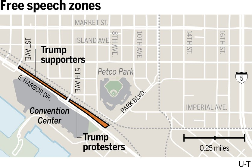 Trump free speech zones map from the San Diego U-T